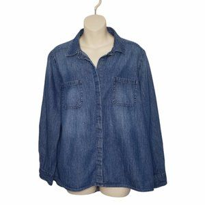 RIDERS BY LEE blue denim button down shirt large